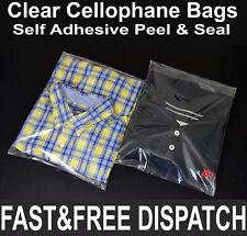 Clear Cellophane Cello Bags Display Garment Self Adhesive Peel Seal Plastic CPP