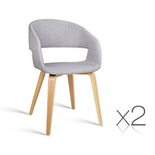 Artiss Set of 2 Timber Wood and Fabric Dining Chairs Light Grey