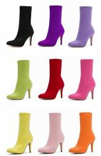 Ladies Club Party Shoes Stretchy Faux Suede High Heels Ankle Boots US Size b701