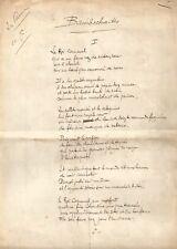 Tristan KLINGSOR  /  Poème autographe signé – Bambochades.