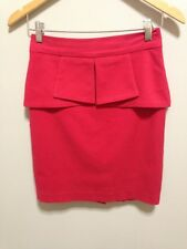 Striking Review Pinky Red Lined Peplum Waist Pencil Skirt  - EUC