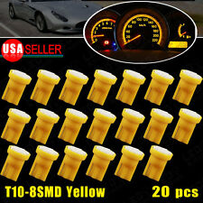 20X Amber Yellow T10 Wedge 8SMD W5W 152 158 161 192 Instrument Panel LED Light