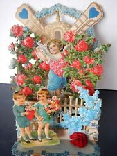 Large fold out valentine; children & flowers; 5 layers; Made in Germany; 8 1/8""