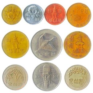 10 SOUTH KOREAN COINS FROM EAST ASIA. REPUBLIC OF KOREA. COLLECTIBLE MONEY: WON