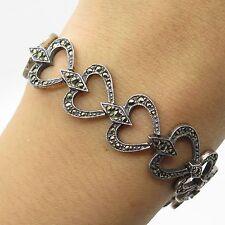 """Judith Jack Vtg 925 Sterling Silver Real Marcasite Gemstone Heart Bracelet 7"""""""