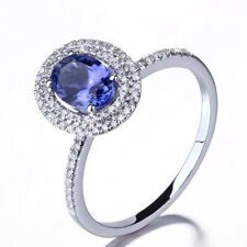 Sterling Silver Oval Tanzanite Real SI/H Diamond Engagement Wedding Ring Jewelry