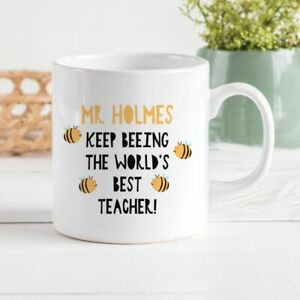 Bee Teacher Ceramic Mug/Cup Tea Coffee Gift Custom Name Kids School Xmas Present