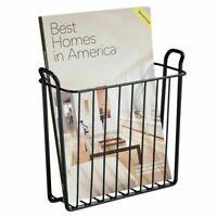 mDesign Metal Wall Mount Magazine, Book Holder, Compact Rack