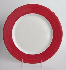 "DUDSON Fine China Red Rim Dinner PLATES 11 3/8"" made in England SET-4 NEW"