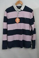 RALPH LAUREN Mens Polo RUGBY Shirt CASUAL SPORT STRIPE CUSTOM Fit Large P98