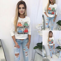 ❤️ Women's Long Sleeve T Shirt Ladies Casual O Neck Pullover Blouse Jumper Tops