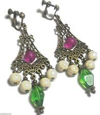 Pink Green Bronze Earrings Chandelier Drop Dangle Antique Vintage Style Clip-On