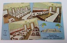 VOGEL'S RESTAURANT Whiting Indiana Postcard Linen 1940's