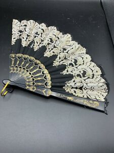 Black Embroidered Fabric Folding Hand Held Fan Sequins Party Bridals USA Seller