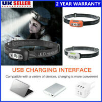 LED Head Torch Lamp USB Rechargeable Headlamp Waterproof Flashlight Headlight UK
