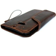 genuine natural leather case fit HTC ONE M8 book wallet retro magnet cover brown