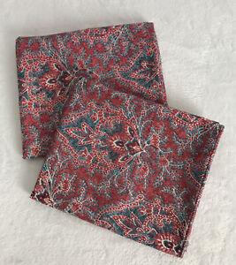 Set of 2 Ralph Lauren Meredith Paisley Red Blue Standard Pillowcases *EUC*