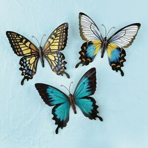 Set 3 Beautifully Detailed 3-Dimensional Metal Butterfly Fence Garden Wall Art