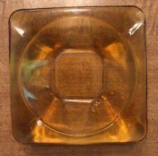 Vintage Amber Glass Tobacco Ashtray Square Mid Century Decor (See Description)