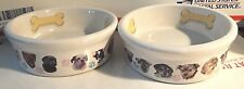 2 Ceramic Puppy Dog Serving Dish Bowls W/Puppy Faces & Paw Prints Bones Inside