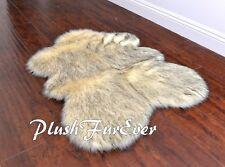 "PlushFurEver 24"" x 36"" Sheepskins Husky Black Tip Sheep Plush Fur Rug"