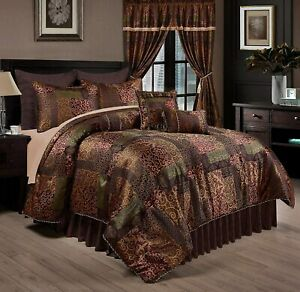 Brown Gold Green Floral Patchwork 9 pc Comforter Set Full Queen Cal King Bedding