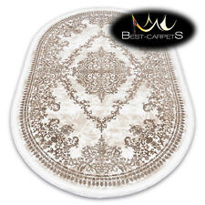 "SOFT AMAZING ACRYLIC RUGS ""DIZAYN"" oval Thick exclusive ivory beige HIGH QUALITY"