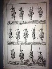 ARTE MILITARE,FANTERIA esercizi,DIDEROT D'ALAMBERT.acquaforte originale 1762