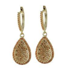 Sterling Silver Gold Finish Champagne CZ Teardrop Womens Dangle Earrings
