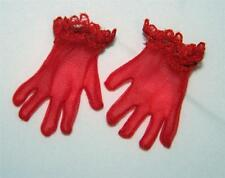 """For 18"""" 20"""" Miss Revlon Doll: NEW Sheer RED Wristlet Gloves w/ Lace Trim"""