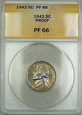 1942 Proof Jefferson Nickel 5c Coin ANACS PF-66