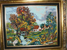 Vintage Needlepoint / Embroidered Fall Country Neighborhood Scene Framed 24 X 20