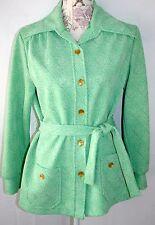 1970's True Vintage belted jacket green large collar 16 Excellent VTG