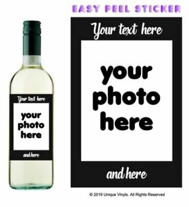 Personalised wine bottle sticker - PHOTO sticker, wine bottle sticker with photo