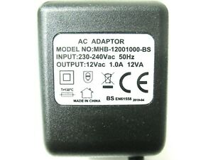1000ma 12v AC-AC (AC Output) Mains Power Adaptor/Supply/Charger (1a, 12w, 12va)