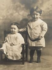 Antique Rare Cabinet Photo Of Two Beautiful Young Happy Children Photograph