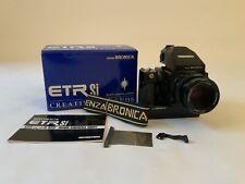 Bronica ETRSi Camera Body, 75mm 1:2.8 Lens, Prism Finder, Motor Winder & Box.