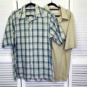 Set of 2 Marks and Spencer Shirt Mens 16 Multicolour Short Sleeve Plaid/Solid