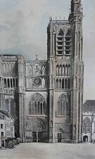 SENS Cathédrale façade PHOTOGRAVURE  la FRANCE de l' EST C.GILLOT XXéme
