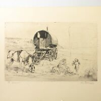 Art Deco etching horse Romany caravan portrait Christine McGregor signed antique