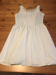 New Look Size 12 Aqua Blue Skater Dress Jewel Trim Pleat Detail V Back High Neck