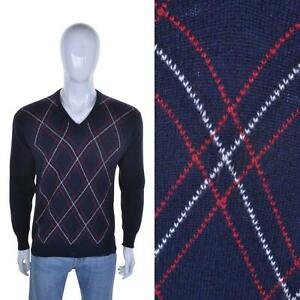 LYLE & SCOTT VTG Virgin Wool Diamond Jumper M Argyll Golf Sweater Argyle Argyl