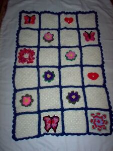 3D afghan, cream background, flowers, butterflies. lap, baby or throw