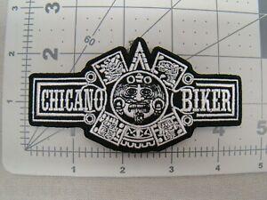 black & white Chicano Biker patch patch Raza patch Aztec Chicano Bike patch Raza