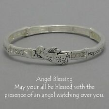Angel Blessing Stretch Bangle Bracelet Wings SILVER Heart Inspirational Jewelry