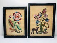 Vintage Framed Embroidery Crewel PAIR 2 1970 Signed Primitive Lancaster PA RARE