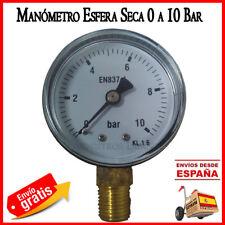 """VACUOMETRO DE VACIO 0 a 10 BAR 1/4"""" ABS MANOMETRO ROSCA VERTICAL ESFERA SECA"""