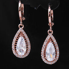 18K Rose Gold F Dangle Earrings Made With Swarovski Crystals Bridal Jewelry