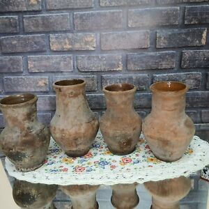 Set of four. Very old antique ancient clay vessel - Rustic bowl - Antique clay p