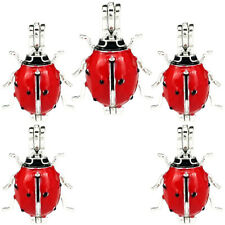 (5 Pack) Enamel Ladybird Insect Pearl Beads Cage Locket Pendant K1058